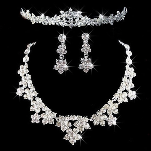 European Diamante Earrings Wedding Jewelry Sets