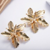 Golden Floral Shape E-Plating Alloy Earrings