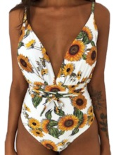 Floral Sexy One Piece Lace-Up Women's Swimwear