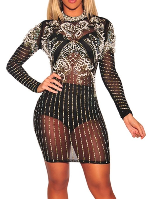 Round Neck Mesh Long Sleeve Geometric Women's Bodycon Dress