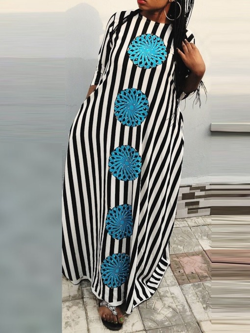 Round Neck Print Three-Quarter Sleeve Women's Maxi Dress