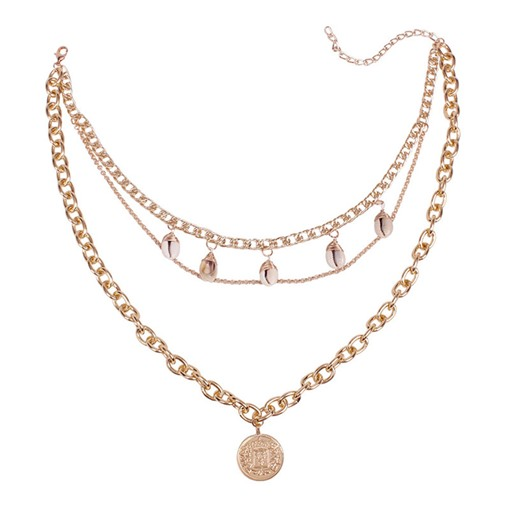 Golden Multi-Layer E-Plating Pendant Necklace