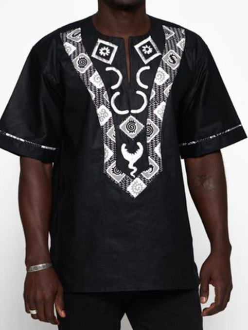 African Ethnic Style Color Block Short Sleeve Men's T-shirt
