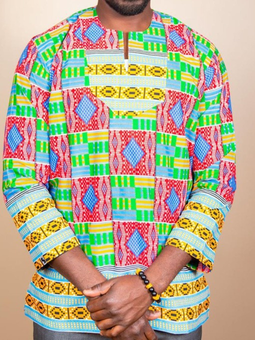 Color Block African Ethnic Style Round Neck Three-Quarter Sleeve Men's T-shirt