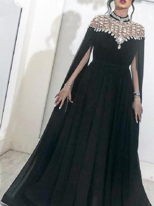 Floor-Length Pick-Ups High Neck A-Line Evening Dress 2019