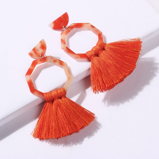 Living Coral Tassel Bohemian Resin Earrings