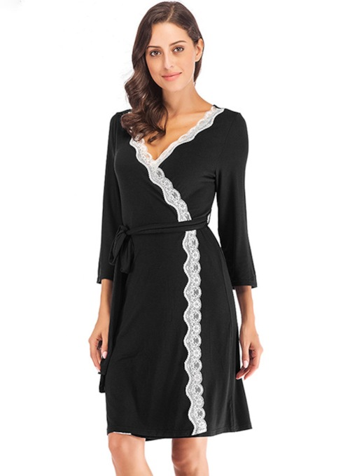 Modal Single Lace-Up Color Block Women's Night Robe