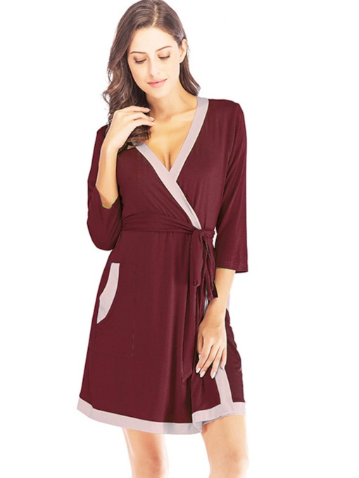 Modal Pocket Lace-Up Color Block Women's Night Robe