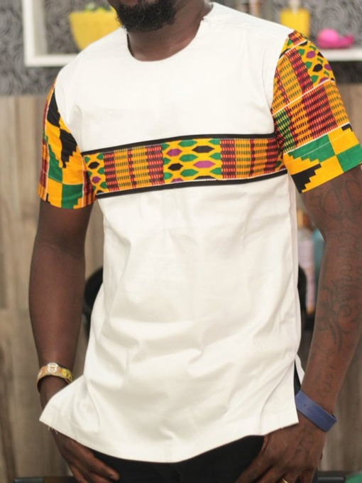 Round Neck Color Block Patchwork African Ethnic Style Short Sleeve Men's T-shirt