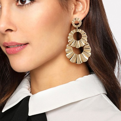 Sparkling Golden Round Irregular Pierced Earrings