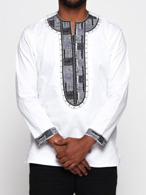 Color Block African Ethnic Style Straight Men's T-shirt