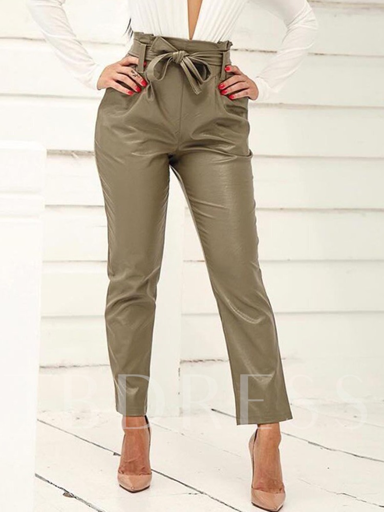 Plain Lace-Up Slim Ankle Length Women's Casual Pants