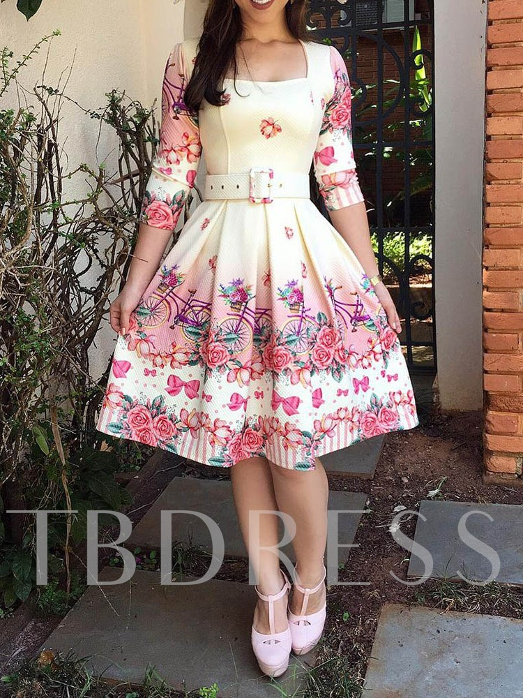Print Square Neck Three-Quarter Sleeve Women's Day Dress Without Belt