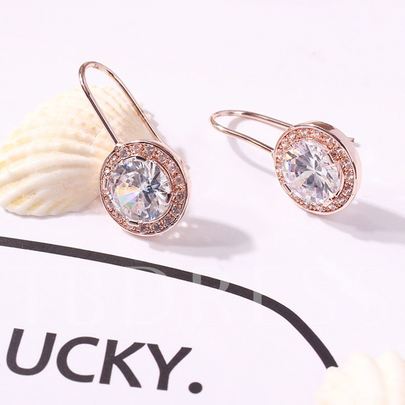 Round Diamante Decorated Party Drop Earrings