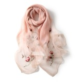 Shiny Floral Embroidery Silk Women Maxi Scarf