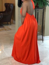 Lace-Up Sleeveless A-Line Backless Women's Maxi Dress