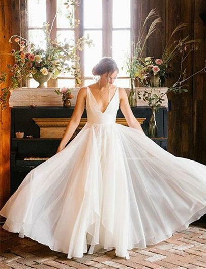 V-Neck A-Line Beach Wedding Dress 2019 V-Neck A-Line Beach Wedding Dress 2019