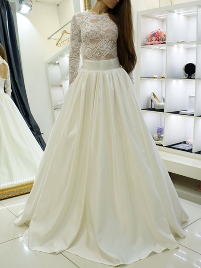 Jewel Neck Long Sleeves Lace Wedding Dress 2019 Jewel Neck Long Sleeves Lace Wedding Dress 2019