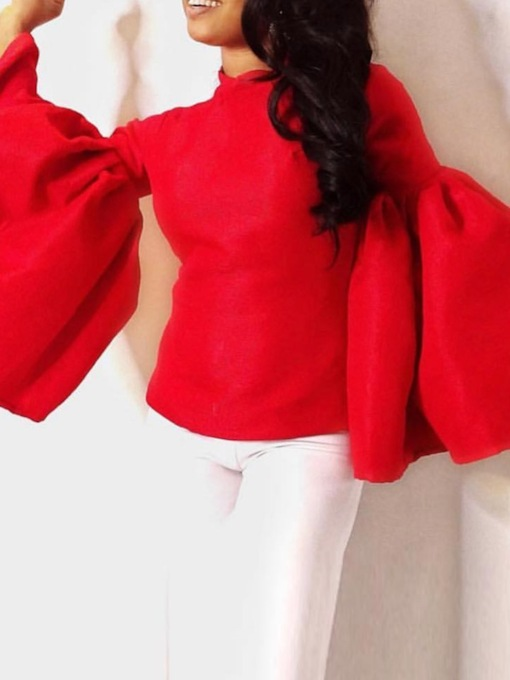 Plain Flare Sleeve Standard African Fashion Women's Blouse