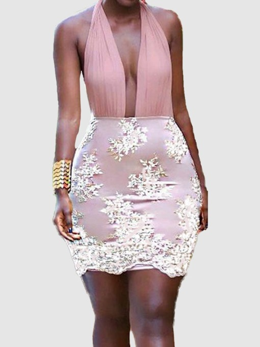 Lace-Up Sleeveless Embroidery Women's Bodycon Dress