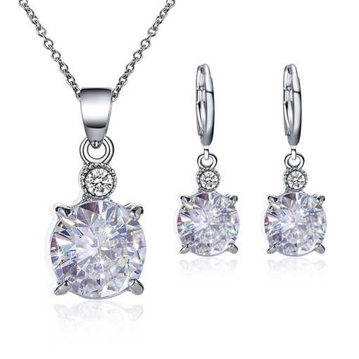 Luxury Rhinestone Necklace Earrings Jewelry Set for Women