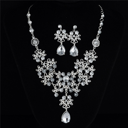 Floral Gemmed Korean Jewelry Sets (Wedding)