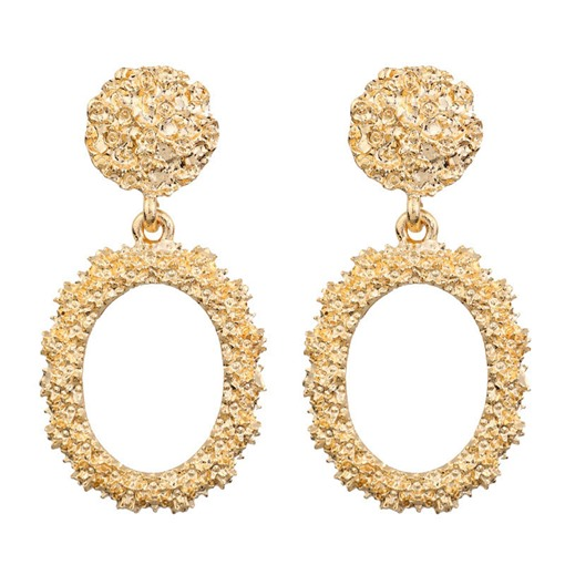 Gold Color Oval Shape Metal Prom Drop Earrings
