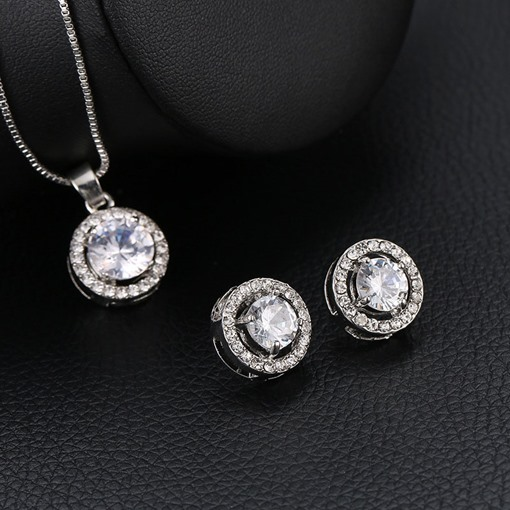 Shiny Round Zircon Silver Color 2 Piece Jewelry Sets