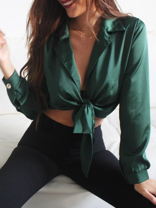 Plain Lace-Up Lapel Long Sleeve Women's Blouse