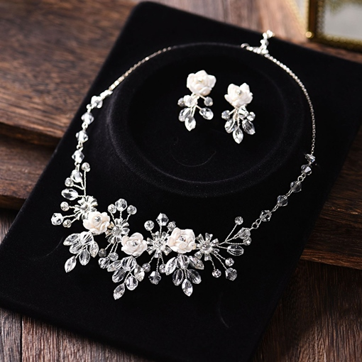 Necklace Earrings Floral European Wedding Jewelry Set