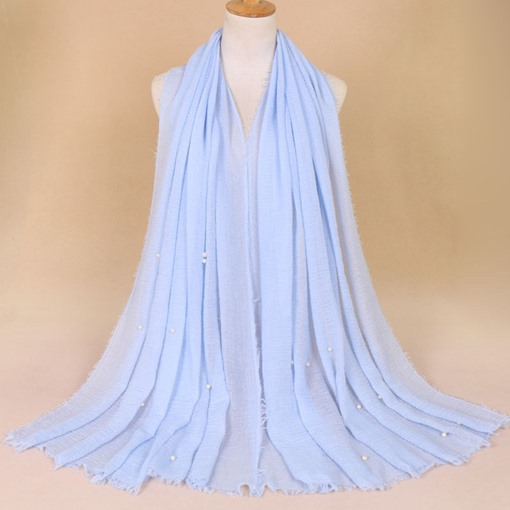 Solid Color Pearl Decorated Cotton Scarf