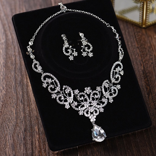 European Earrings Gemmed Wedding Jewelry Sets