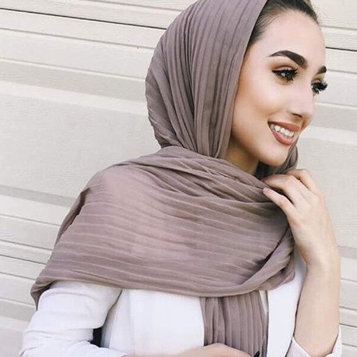 New Summer Solid Color Crinkle Chiffon Hijab Scarf