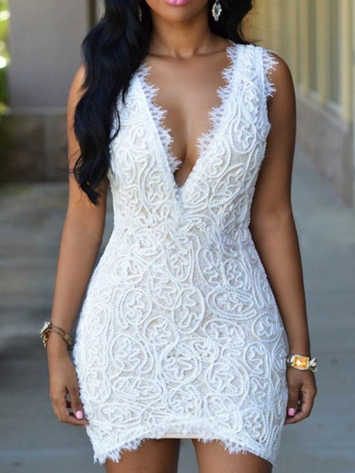 Sleeveless V-Neck Hollow Lace Women's Bodycon Dress