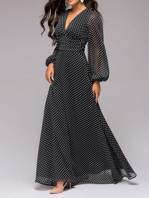 Long Sleeve V-Neck Print A-Line Polka Dots Women's Maxi Dress