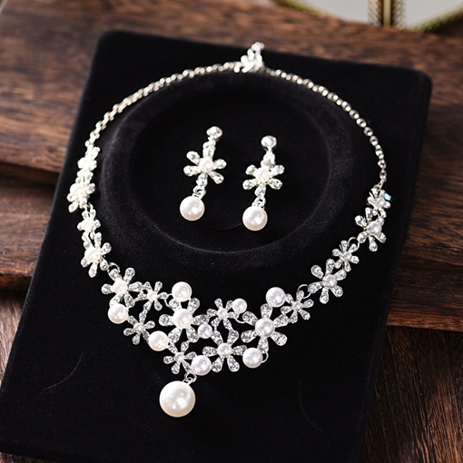 Floral Korean Necklace Pearl Jewelry Sets (Wedding)