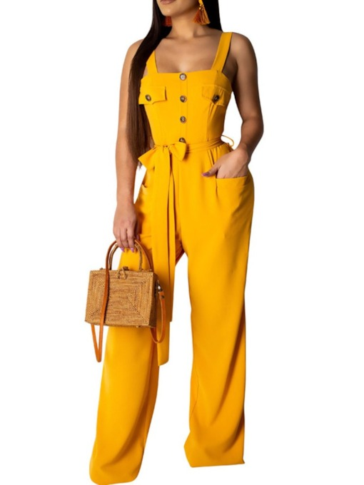 Plain Full Length Strap Fashion Slim Women's Jumpsuit