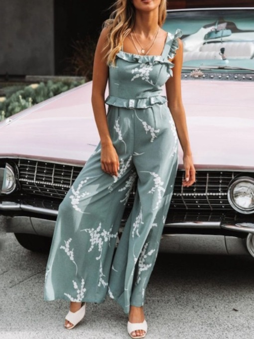 Full Length Floral Strap Fashion Wide Legs Women's Jumpsuit