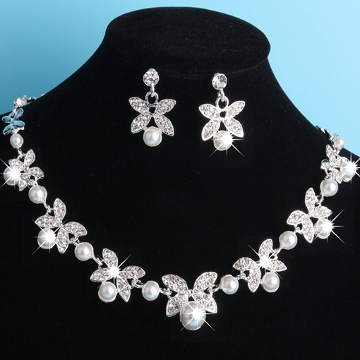 Pearl Inlaid Floral European Jewelry Sets (Wedding)