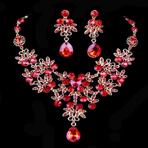 Necklace Diamante Floral Jewelry Sets (Wedding)