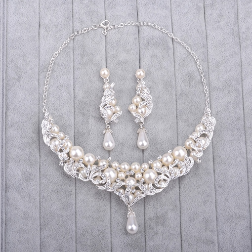 Floral Earrings Pearl Inlaid Wedding Jewelry Sets