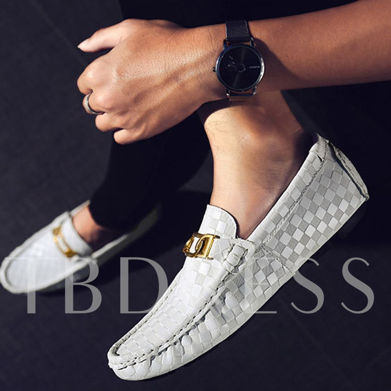 Plain Low-Cut Upper Slip-On Flat Heel PU Men's Loafers