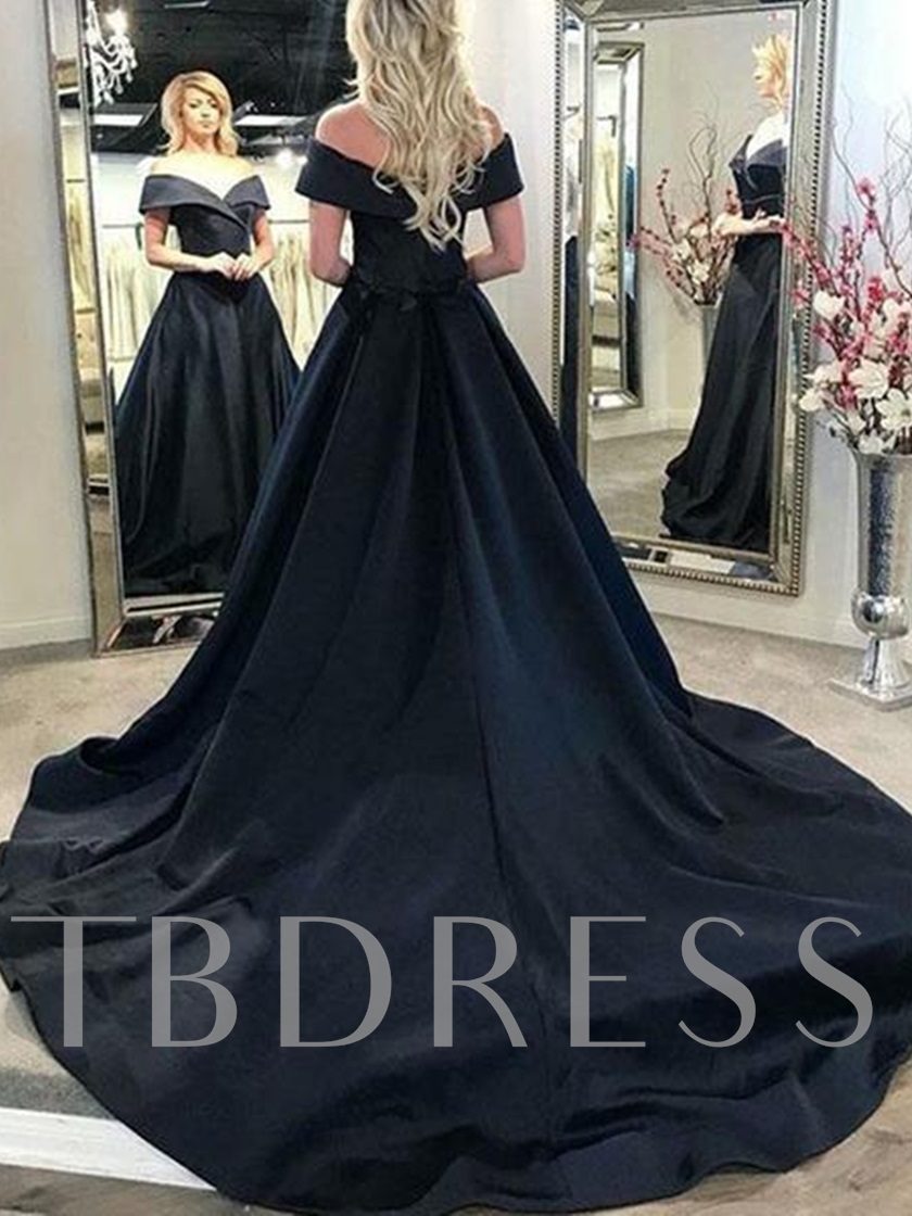 Off the Shoulder A-Line Black Evening Dress 2019