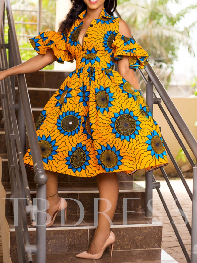 African Fashion Lapel Half Sleeve Print Travel Look Women's Day Dress