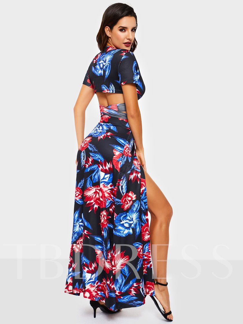 Date Night Split Floral Skirt Pullover Women's Two Piece Sets