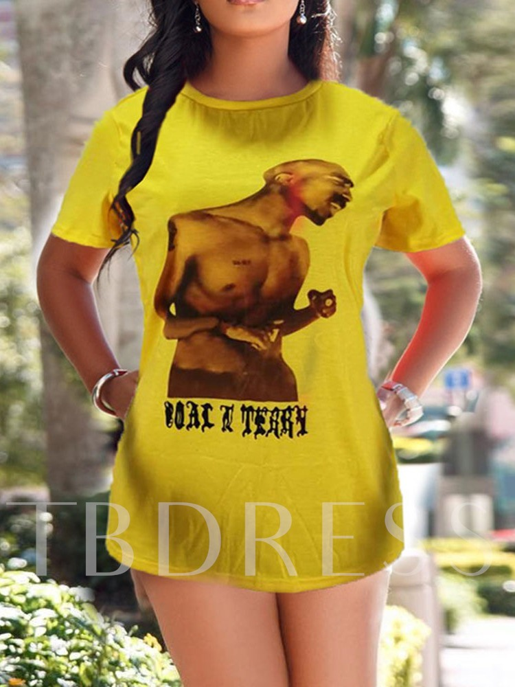 Round Neck Short Sleeve Animal Mid-Length Casual Women's T-Shirt
