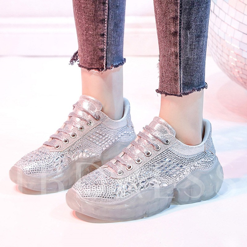Rhinestone Lace-Up Round Toe Trendy Women's Sneakers