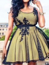 Sleeveless Lace Patchwork Hollow Women's Day Dress