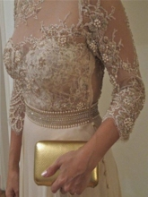 3/4 Length Sleeves Pearls Lace Mother of the Bride Dress 2019