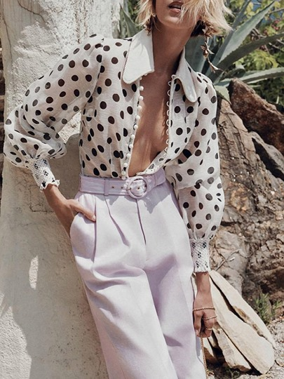 polka dots stand collar long sleeve womens blouse